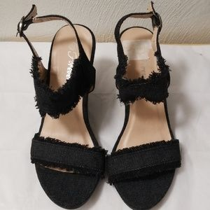 Shoes - Black Denim Wedges